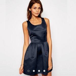 True Decadence Black Satin Cocktail Dress Sz 14